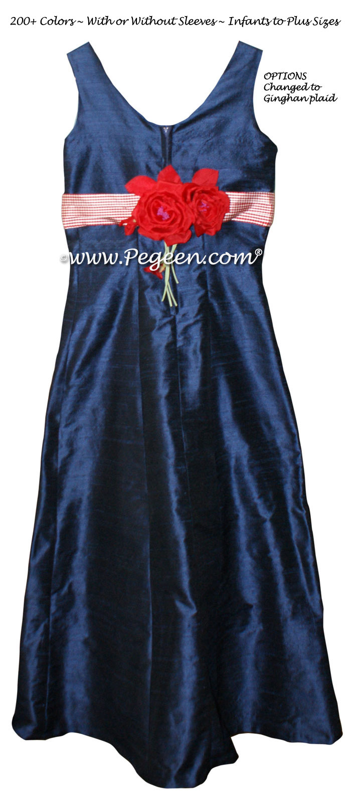 Jr Bridesmaids Dresses - Style 320 Navy and Red Gingham Silk | Pegeen