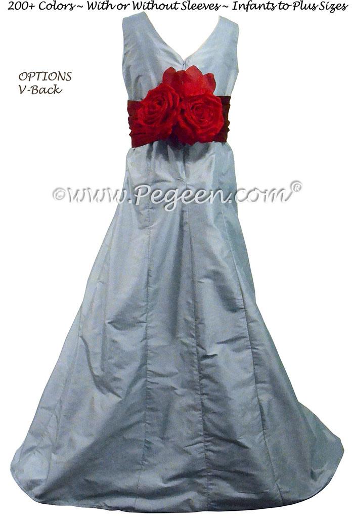 Jr Bridesmaids Dress style 320 Powder Blue Silk | Pegeen