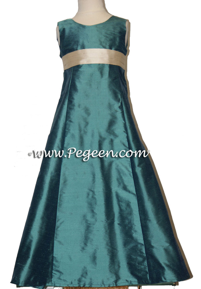 Jr bridesmaids dresses in teal and ivory bisque silk - Style 320 | Pegeen