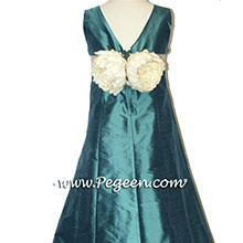TEAL AND BISQUE JUNIOR BRIDESMAIDSl dresses