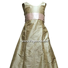 Toffee silk Jr bridesmaids dress