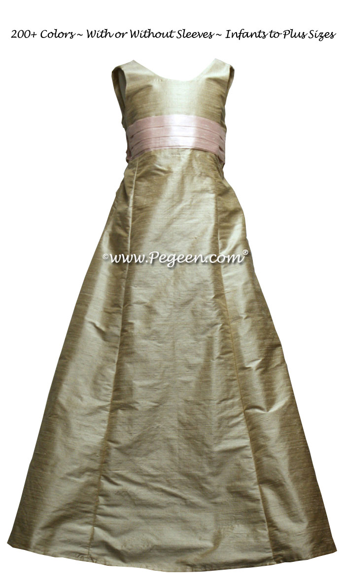 Jr Bridesmaids dress in Toffee silk - Style 320 | Pegeen