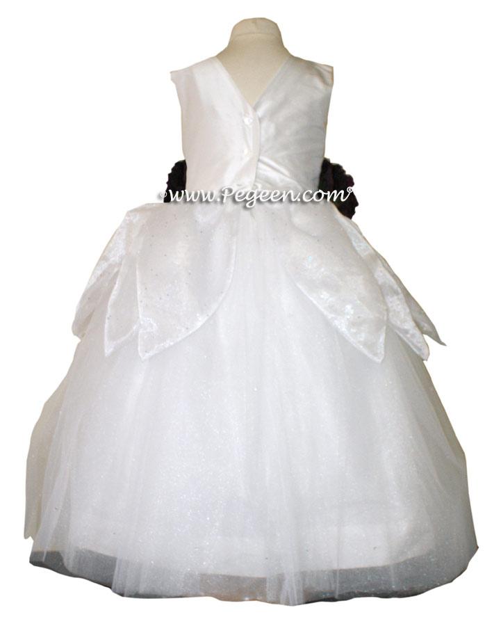 Antique White Organza Frog Princess flower girl dresses