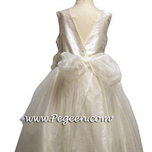 IVORY SEQUINED SILK JUNIOR BRIDESMAIDS and Custom flower girl Dresses