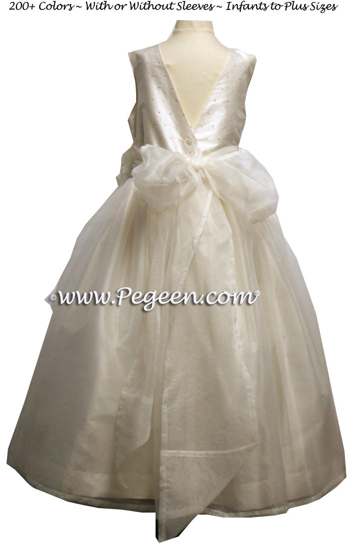 Ivory Sequinned Silk Junior Bridesmaids and Custom flower girl Dresses