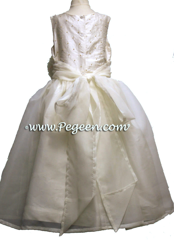 Sequin silk and Ivory flower girl dresses and gold pearls
