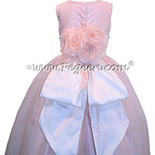 Baby Pink Sequins and White Flower Girl Dresses with Signature Bustle Style 325
