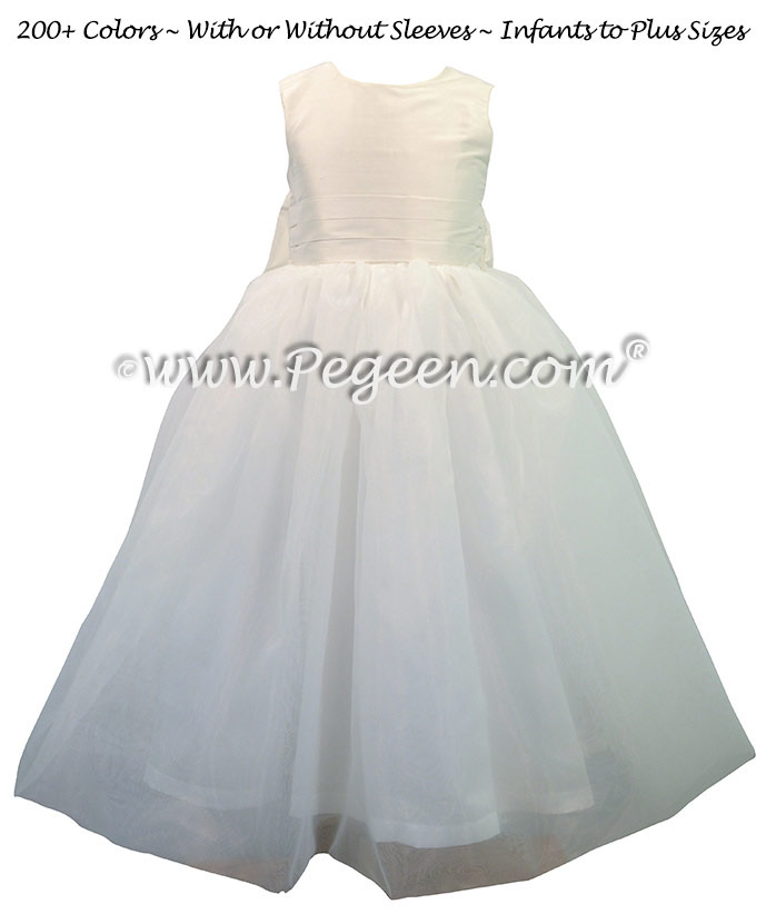 Custom Antique White Silk First Communion dress