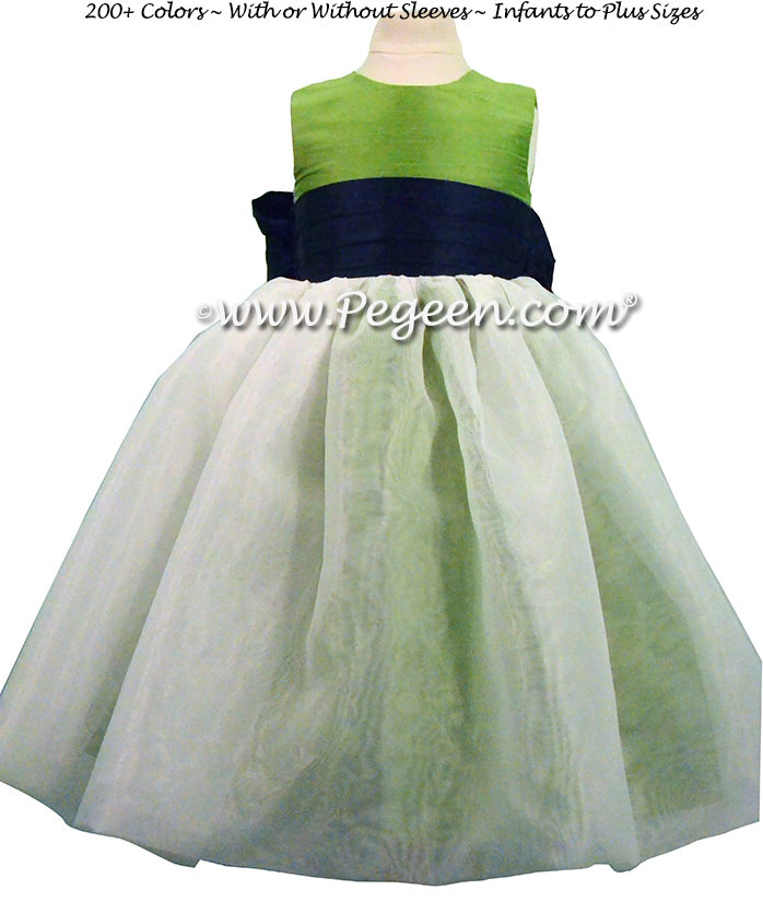 Key Lime green and Navy Blue Silk and Organza Flower Girl Dress style 326