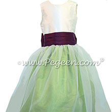 Apple Green and Eggplant custom flower girl dresses