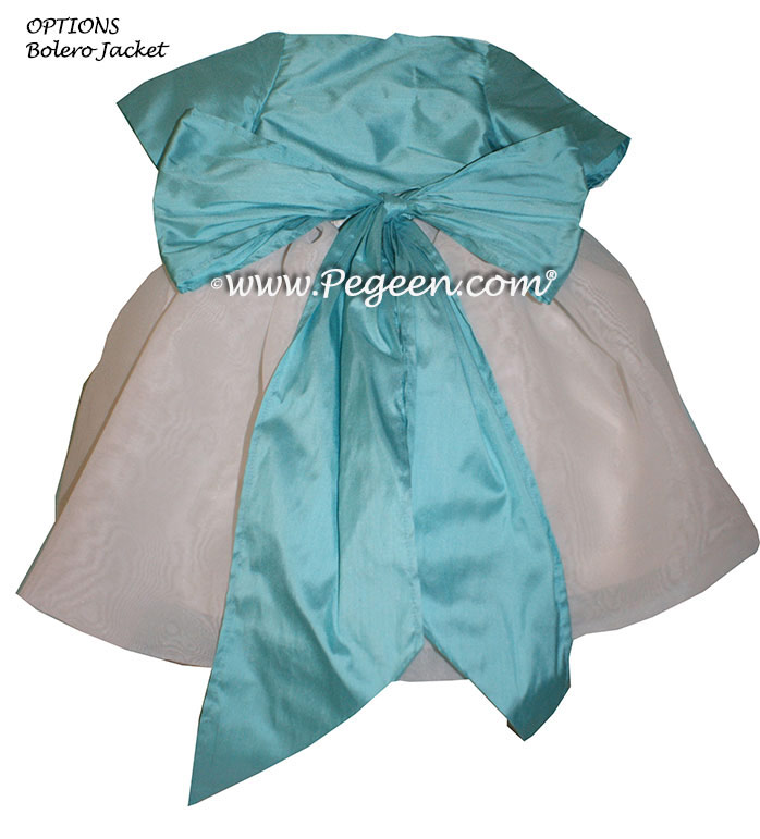 Bahama Breeze (aqua) and Antique White Infant Flower Girl Dress Style 326