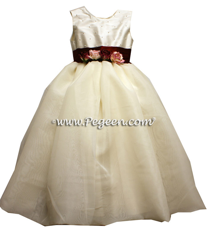 Burgundy and Ivory Pearled Flower Girl Dress Style 326 with Organza Skirt