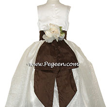 Chocolate brown and ivory satin CUSTOM FLOWER GIRL DRESS With back Flowers