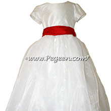 Christmas Red Flower Girl Dresses - Pegeen Style 326 with Cap Sleeves