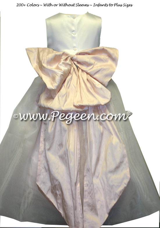 Blush Pink and White Satin Flower Girl Dress with Cinderella Bow