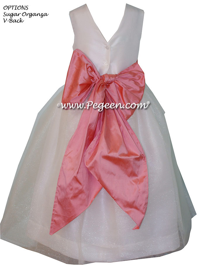 Flower Girl Dresses in New Ivory and Coral Rose