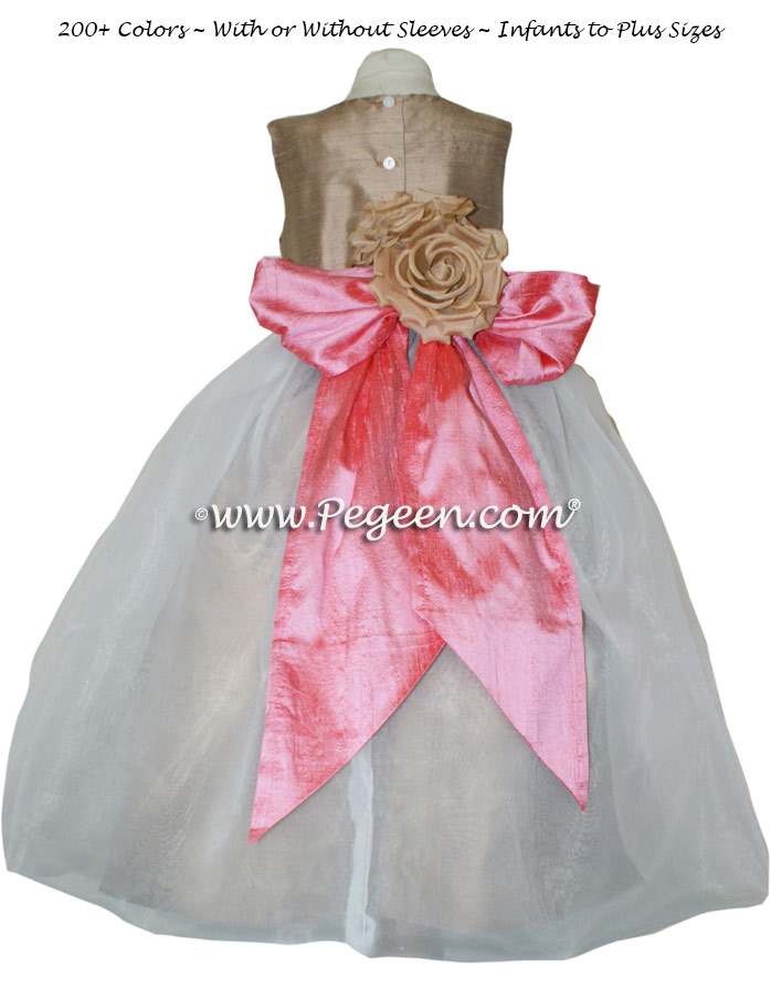 Flower Girl Dresses Style 802 in Gumdrop Pink and Antigua Taupe