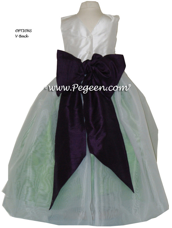 Keylime Green and Deep Plum Sash Custom Flower Girl Dresses