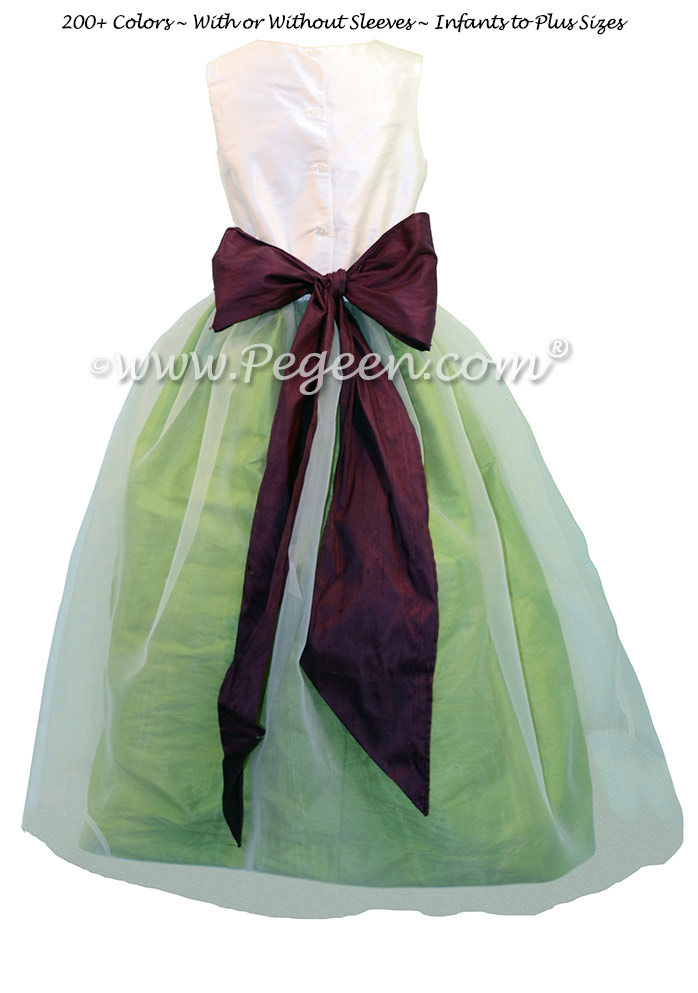 Apple Green and Eggplant custom flower girl dresses in silk and organza