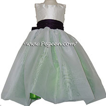 Keylime Green and Deep Plum Sash Silk Flower Girl Dresses by PEGEEN