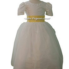 lemonade and New ivory silk Tulle Custom Flower Girl Dress Style 326