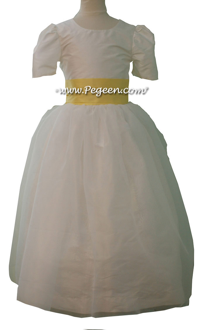 Style 326 in lemonade and New Ivory Custom Flower Girl Dresses