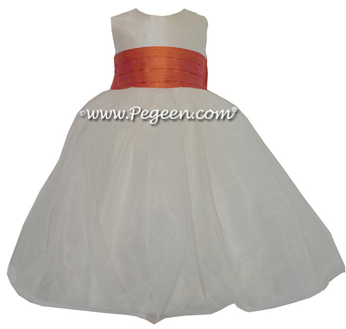 Mango (orange) and New Ivory Silk and Organza Flower Girl Dress style 326