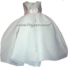 Petal Pink and morning gray infant flower girl dresses Pegeen style 326