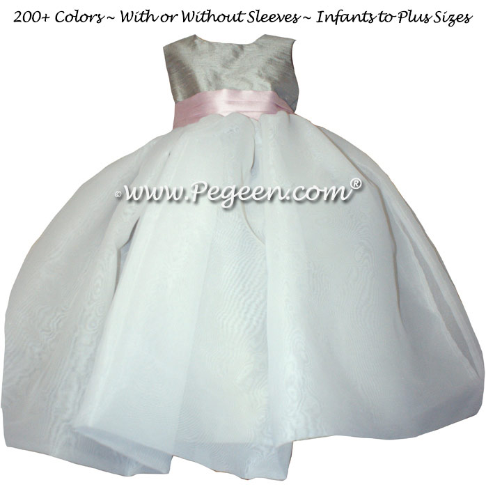 Petal Pink, Morning Gray and Ivory Flower Girl Dresses Classic Style 326