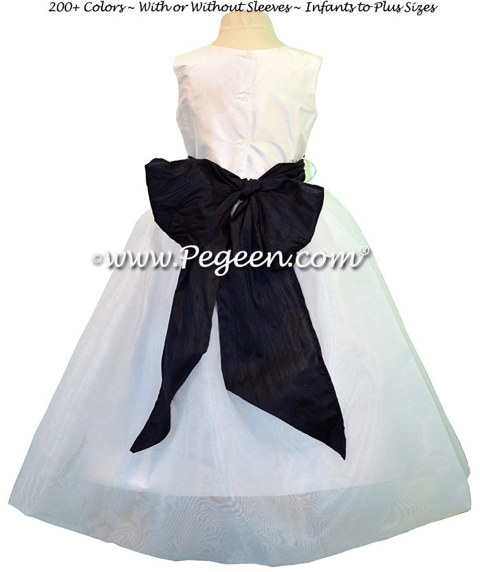 Flower Girl Dresses in Navy Blue and Antique White Silk Style 326 by Pegeen
