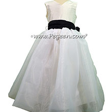 Organza and Silk Flower Girl Dresses in Navy