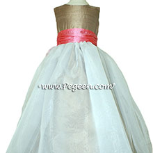 Flower Girl Dresses in Gumdrop Pink and Antigua Taupe