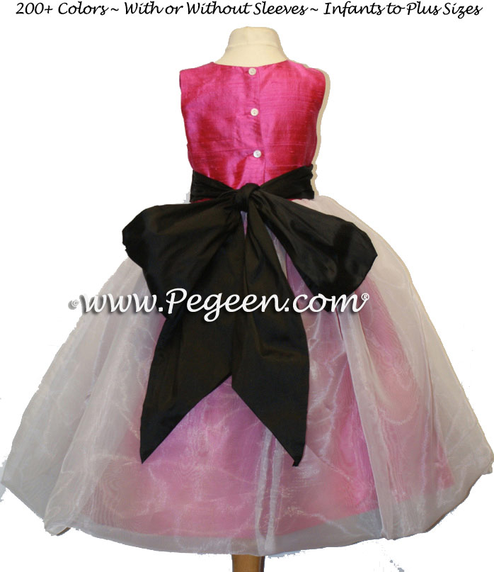 Shock Pink, Black and Ivory Flower Girl Dresses Classic Style 326