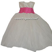 Cerise (hot pink) and New Ivory Silk and Organza Flower Girl Dress style 326