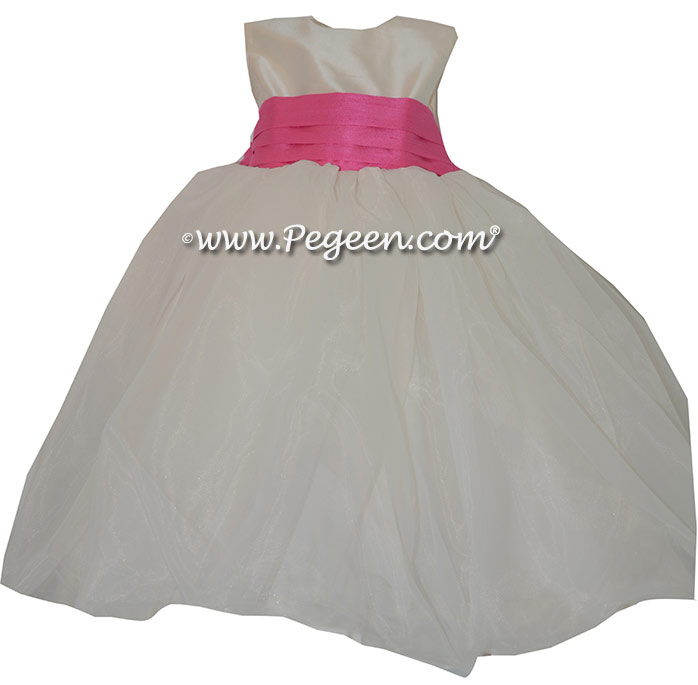 5f47a0dc67d Hot Pink and vory Silk Flower Girl Dresses Style 326