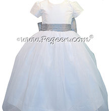 Antique White and Silver Gray silk Tulle Custom Flower Girl Dress Style 326