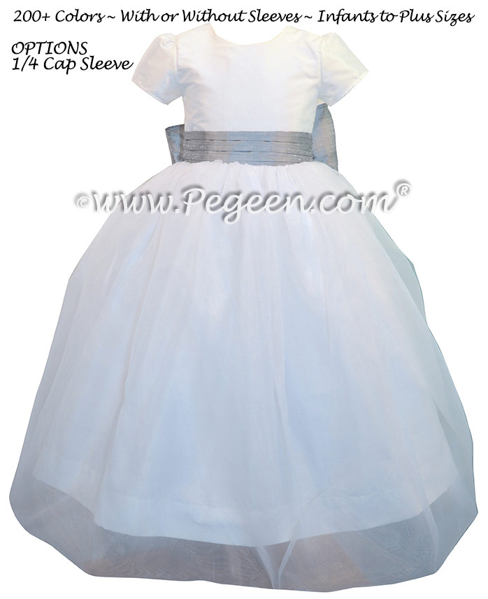 Antique White and Silver Gray silk and organza  Custom Flower Girl Dresses by Pegeen