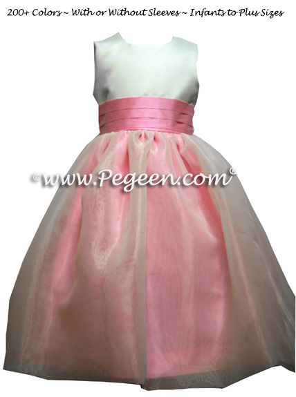 Bubblegum Pink and Antique White Flower Girl Dress Style 326 with Organza Skirt