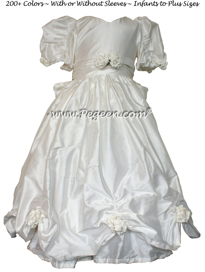 Antique White Silk Pageant Dresses Style 968