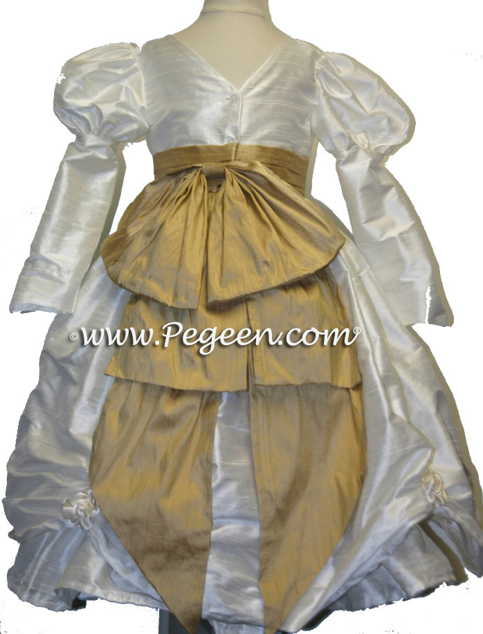 Spun Gold and New Ivory Flower Girl Dresses