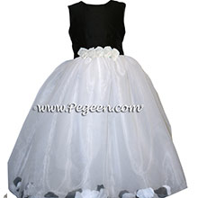 BLACK AND WHITE PETAL flower girl dresses