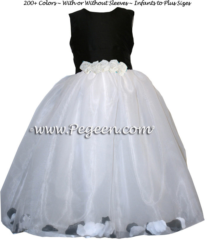 Flower Girl Dresses with Petals in Black and White Silk | Pegeen