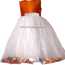 pumpkin orange and ivory flower girl dresses