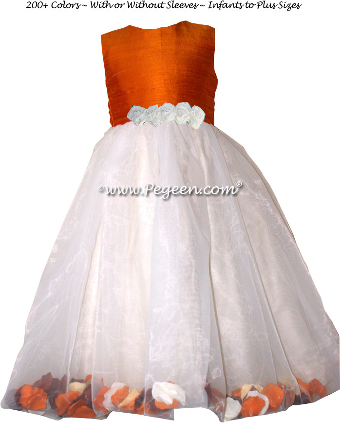 PUMPKIN ORANGE AND IVORY FLOWER GIRL DRESSES