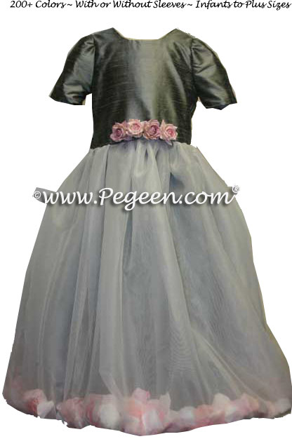 Medium Gray Silk and Organza Flower Girl Dresses with Petals in the Skirt