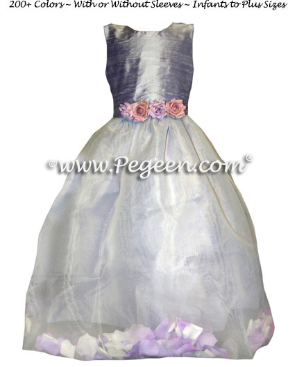 Lilac and New Ivory Silk and Organza Flower Girl Dresses with Petals in the Skirt