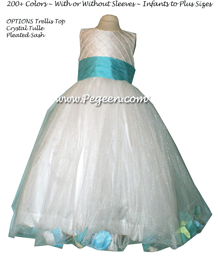 Flower Girl Dress with Tulle - Style 333 Bahama Breeze, Lime Green petals | Pegeen