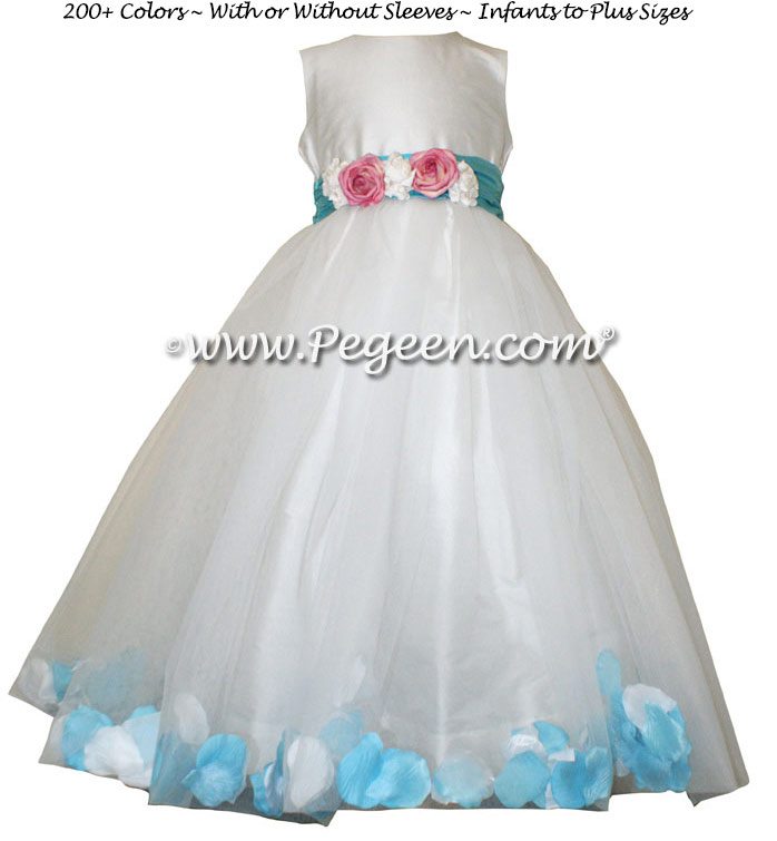 Flower Girl Dresses with Tulle, Aqua and Pink Petals  - Style 333 | Pegeen