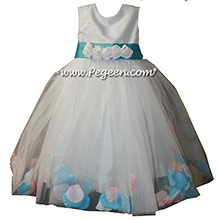 Bahama Breeze Aqua with Pink and Tiffany Blue petals in a tulle skirt