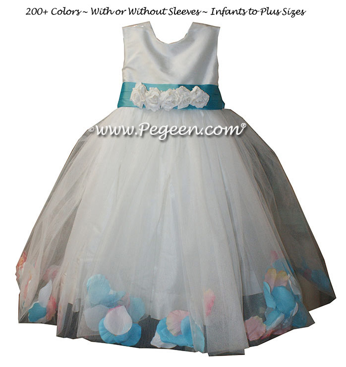 Tiffany Blue and Antique White Silk flower girl dresses - Style 333